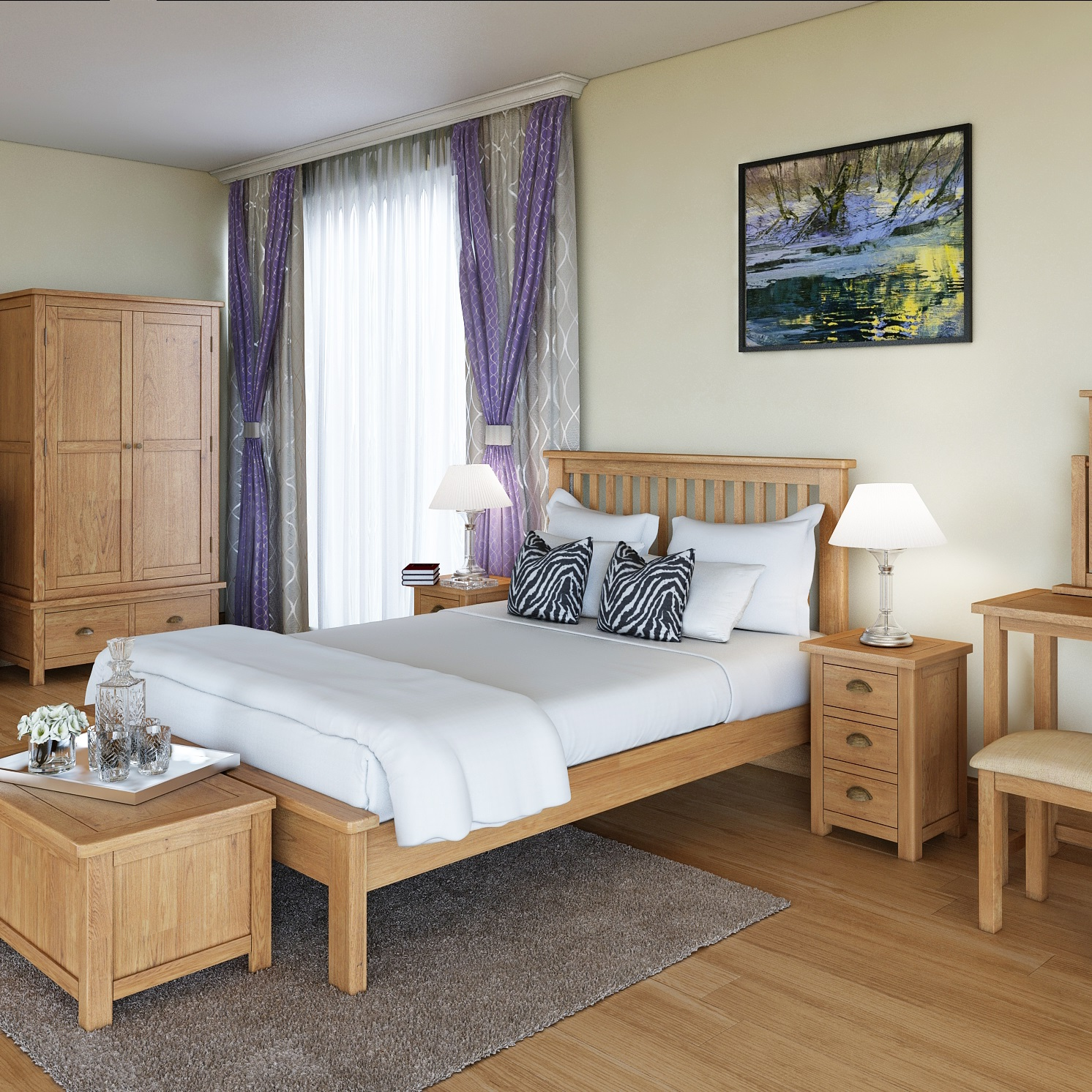 Modern Oak Bedroom | Print